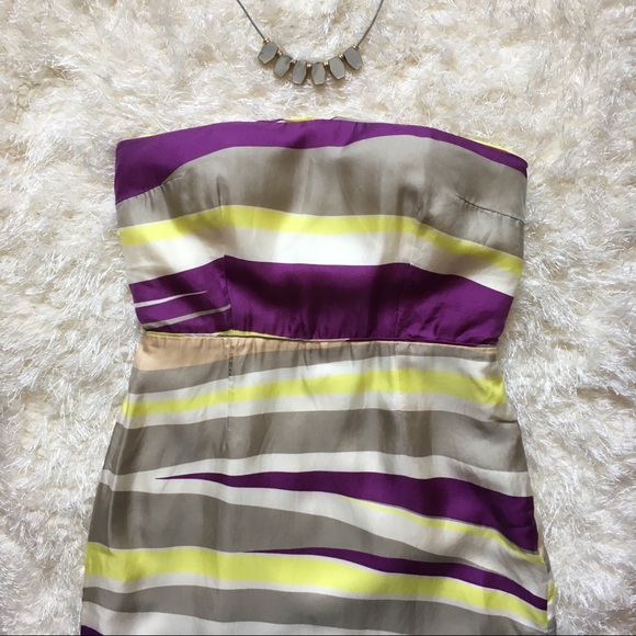 73cc0f349c6c3 BR Strapless Striped Sheath Silk Cocktail Dress